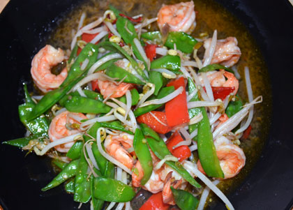 Snow peas shrimp is a delectable stir fried fresh vegetable with ...
